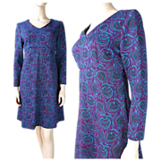 1960's Empire Waist Shift Dress With Stylized Roses