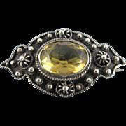 Vintage Circa 1920 800 Silver Citrine Brooch