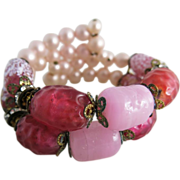 Vintage Memory Wire Bracelet With Pink Art Glass Beads And Rhinestone Roundels