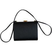 SALE 1960's Saks Fifth Avenue Black Satin Evening Bag / Shoulder Bag With Simulated Pearl ...