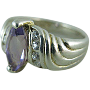SALE Vintage Sterling Silver Amethyst Ring Size 7 1/2