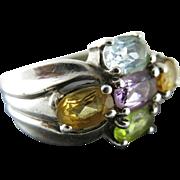 SALE Vintage Sterling Silver Multi - Gemstone Ring Size 5 1/4