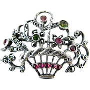 Edwardian Sterling Silver Marcasite And Tourmaline Giardinetti Flower Basket Brooch