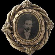 Antique Victorian Brass Memorial Spinner Brooch