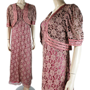 SOLD 1930's Three-Piece Gown Jacket And Slip Ensemble