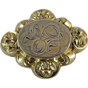 Antique Victorian Gold Filled Mourning Brooch With Locket
