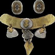 SALE Vintage Marjorie Baer Mixed Metal Modernist Brooch And Clip Earrings Set