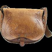 SALE 1970's Hand Tooled Leather Shoulder Bag