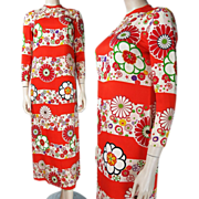 1970's Floral Printed Silk Maxi Dress