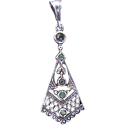 Edwardian Sterling Silver & Green Paste Pendant