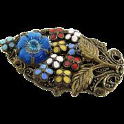 Vintage Enameled Floral Dress Clip