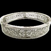 SALE Vintage Silver - Tone Filigree Hinged Bangle Bracelet