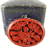 Vintage Chinese Carved Cinnabar Pendant In 800 Silver Frame