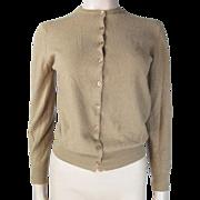 1950's Pringle Of Scotland Light Brown Cashmere Cardigan Sweater