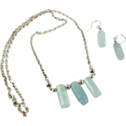 Vintage Sterling Silver Quartz Crystal Necklace And Dangle Earrings Set