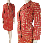 SALE 1970's Printed Cotton Skirt Suit