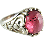 Vintage Sterling Silver Pink Tourmaline Ring Size 6 1/2