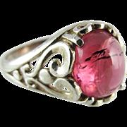 Vintage Sterling Silver Pink Tourmaline Ring Size 6 1/2