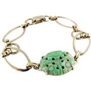 Vintage 12K Gold-Filled Carved Jadeite Bracelet