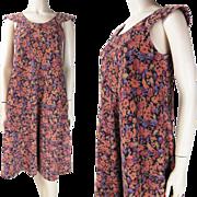 1970's Vintage Floral Printed Corduroy Dress