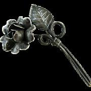 Vintage Sterling Silver Rose Pin / Brooch