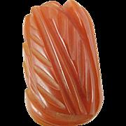 Vintage Carved Orange Bakelite Dress Clip