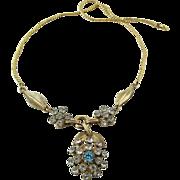 Vintage Van Dell 12K Gold-Filled Rhinestone Floral Choker Necklace
