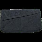 SALE 1940's Vintage Navy Blue Corde Clutch / Evening Bag