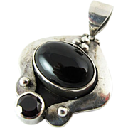 Vintage Sterling Silver Onyx And Tourmaline Pendant