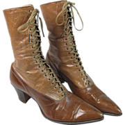 SOLD Antique Victorian Two - Tone Leather High Top Lace - Up Boots