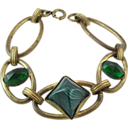 Vintage 1930's Gold-Tone Bracelet With Green Glass Stones