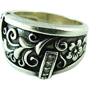 Vintage Sterling Silver Carved Floral Ring With Rhinestones Size 7 1/2
