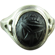 SALE 1950's Vintage Joseph Esposito Sterling Silver Carved Onyx Scarab Ring Size 8 3/4
