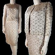 Vintage 1960's Lord & Taylor Lamé Brocade Three - Piece Skirt Blouse And Jacket Ensemble