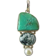 Vintage Sterling Silver Turquoise Agate And Simulated Pearl Pendant