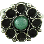 Vintage Mexican 800 Silver Aventurine Floral Ring Size 6