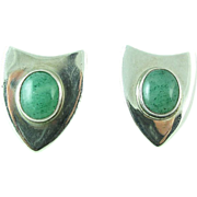 SALE Vintage Sterling Silver Aventurine Clip Back Earrings