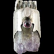 Vintage Sterling Silver Amethyst Crystal Pendant