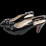 SALE Vintage Ferragamo Black Patent Leather Peep-Toe Sling-Back Heels