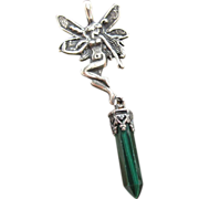 Vintage Sterling Silver Fairy Pendant With Malachite Drop