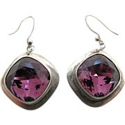 Vintage Mexican Sterling Silver Amethyst Glass Earrings
