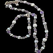 SALE Vintage Sterling Silver Amethyst Bead Cultured Pearl Necklace And Bracelet Set