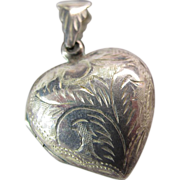 Antique Victorian Etched Sterling Silver Heart Locket