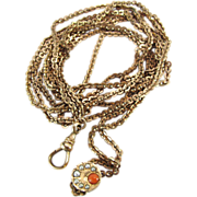 Antique Gold - Filled Watch Chain With Coral And Seed Pearl Slide By GLB & CO