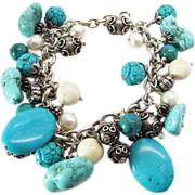 Vintage Chinese Sterling Silver Dyed Turquoise Simulated Pearl And Bone Charm Bracelet