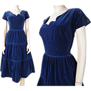 1950's Vintage Blue Velvet Party Dress