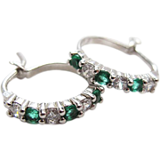 Vintage Sterling Silver Clear And Emerald Green Cubic Zirconia Hoop Earrings