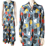 1970's Vintage Graphic Print Sleeveless Maxi Dress With Jacket