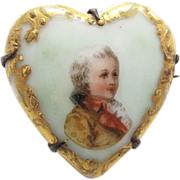 Antique Victorian Hand-Painted Heart Shaped Porcelain Brooch