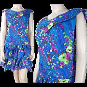 SALE Vintage Paradise Hawaii Floral Printed Drop Waist Mini Dress